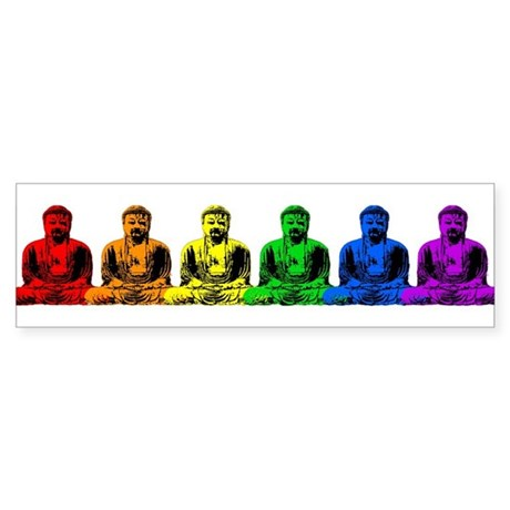 Row of Rainbow Buddha Statues Sticker 2