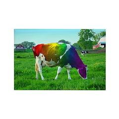 Rainbow Cow Rectangle Magnet