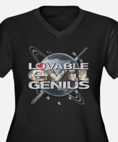 Lovable Evil Genius Women's Plus Size V-Neck Dark