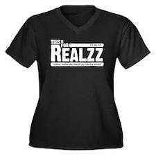 For Realzz Women's Plus Size V-Neck Dark T-Shirt