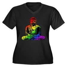 Rainbow Buddha Women's Plus Size V-Neck Dark T-Shi