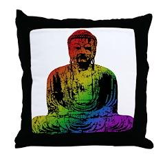 Rainbow Buddha Throw Pillow