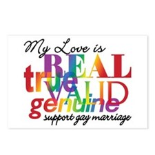 My Love Is Real Support Gay Marriage Postcards (Pa