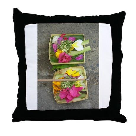 Balinese Offering Baskets Throw Pillow