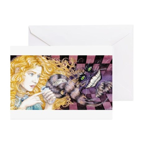 Alice & Cheshire (light) Greeting Cards (Pk of 20)