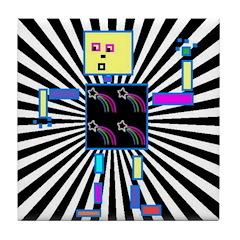 Retro Funky Robot Tile Drinks Coaster