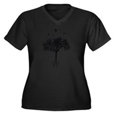 Cute Artistic Women's Plus Size V-Neck Dark T-Shirt
