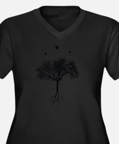Unique Artistic Women's Plus Size V-Neck Dark T-Shirt