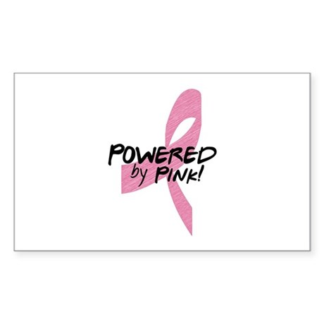 Powered by Pink Ribbon Sticker (Rectangle)