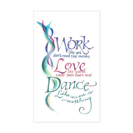 Work Love Dance Rectangle Sticker