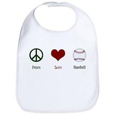 Peace Love Baseball Bib
