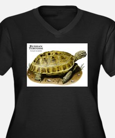 Russian Tortoise Women's Plus Size V-Neck Dark T-S