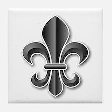 Black Fleur de Lys Tile Coaster