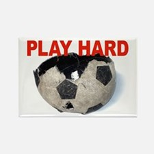 PLAY HARD soccerball Rectangle Magnet