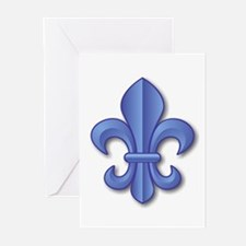 Blue Fleur de Lys Greeting Cards (Pk of 10)