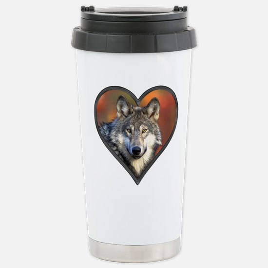 Wolf Heart Stainless Steel Travel Mug