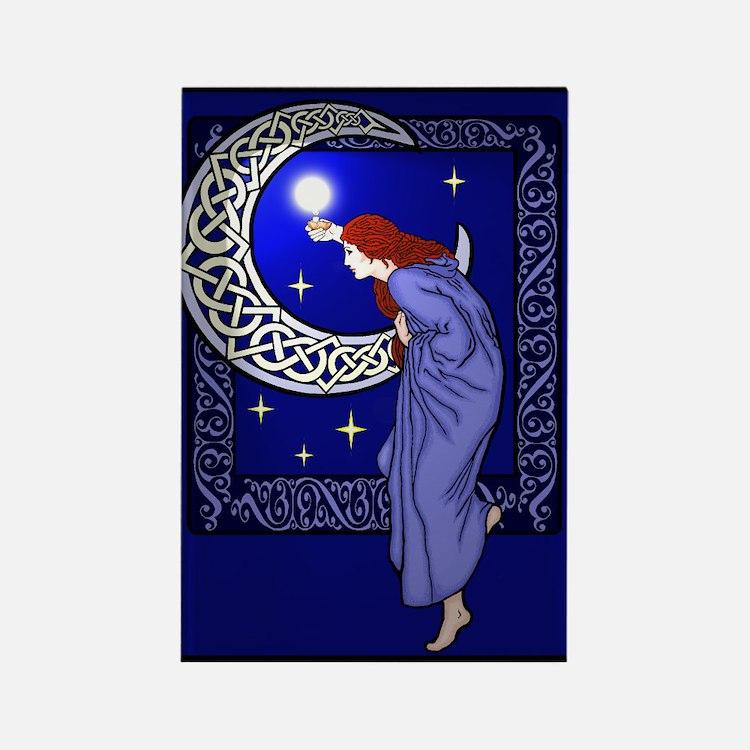 Celtic Moon Woman Rectangle Magnet
