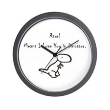 RAWR! Means I Love You in Dinosaur Wall Clock
