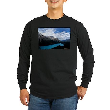 Brilliant Blue Lake Long Sleeve Dark T-Shirt