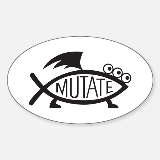 Mutate Fish Sticker (Oval)