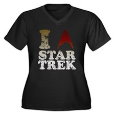 I love Star Trek Women's Plus Size V-Neck Dark T-S