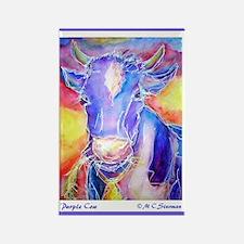 Cow! Purple cow art! Rectangle Magnet