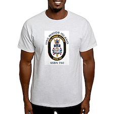 USS Rhode Island SSBN 740 Ash Grey T-Shirt