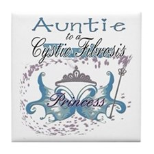 Auntie to a Cystic Fibrosis Warrior Blue Tile Coas