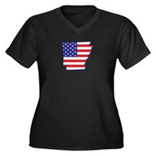 AR USA Flag Map 1 Women's Plus Size V-Neck Dark T-