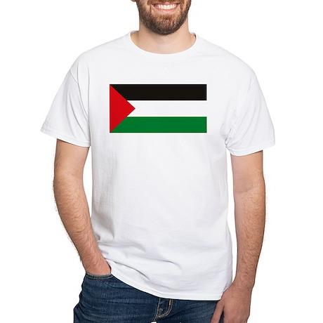 Palestine Flag White T-Shirt
