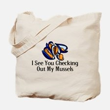 Checking Out Mussels Tote Bag