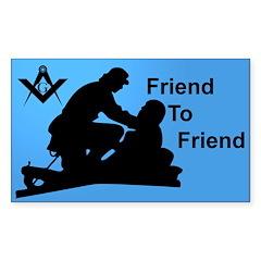 Masonic Friend 2 Friend Rectangle Decal