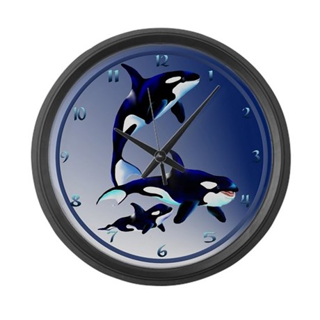 killer whale family large wall clock by lotacatspix