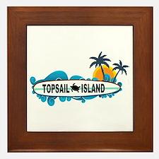 Topsail Island NC - Surf Design Framed Tile