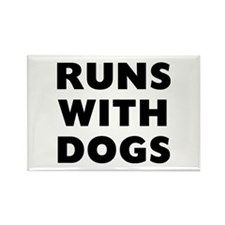 Runs Dogs Rectangle Magnet