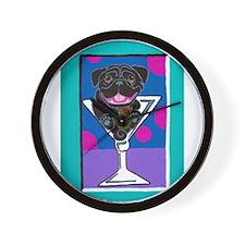 Pug Martini Black Wall Clock