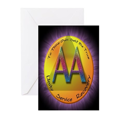 GOLD/PURPLE AA Greeting Cards (Pk of 20)