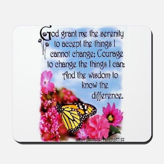 FLOWERED SERENITY PRAYER Mousepad