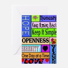 COLORED BLOCK SLOGANS Greeting Card