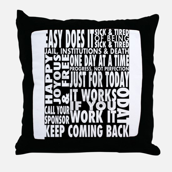 BLACK 12 STEP DESIGNS Throw Pillow