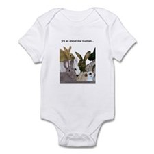 """It's all about the bunnies..."" Infant Bodysuit"
