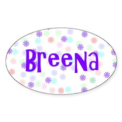 Breena Flower Power Oval Sticker
