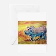 Bright, Rhino, Greeting Card