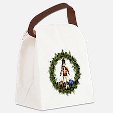 Red Nutcracker Wreath Canvas Lunch Bag