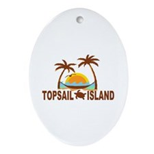 Topsail Island NC - Palm Trees Design Ornament (Ov
