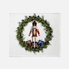 Red Nutcracker Wreath Throw Blanket