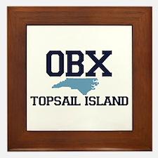 Topsail Island NC - Map Design Framed Tile