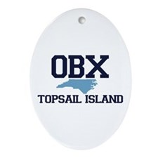 Topsail Island NC - Map Design Ornament (Oval)