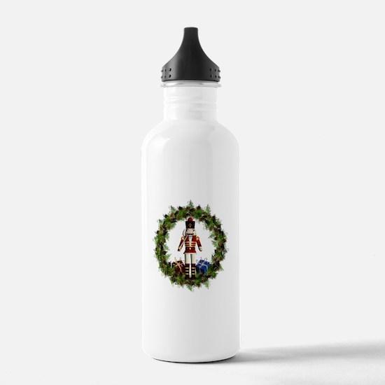 Red Nutcracker Wreath Water Bottle