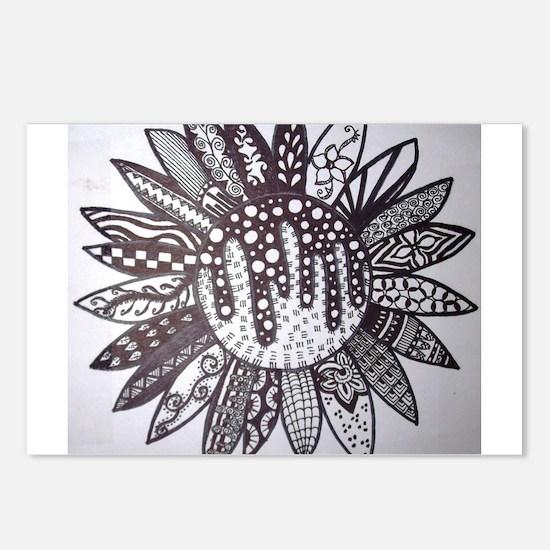 Zen Sunflower Doodle Postcards (Package of 8)
